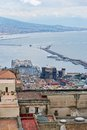 Naples harbor and maschio angioino castle from castel santelmo Royalty Free Stock Images
