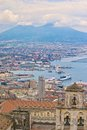 Naples harbor and mount vesuvius from the hills Royalty Free Stock Image