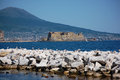 Naples landscape with the castel dell ovo and the vesuvio Royalty Free Stock Photography