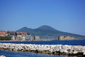 Naples landscape with the castel dell ovo and the vesuvio Stock Photo