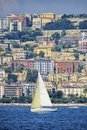 Naples mergellina view from the sea of with sailboat Stock Photography