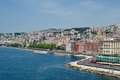 Naples riviera from castel dellovo view of di chiaia Stock Photos