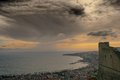 Naples seaside at dusk view of from sant elmo castle Stock Photography