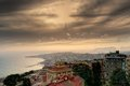 Naples seaside and hills at dusk view of from sant elmo castle Royalty Free Stock Photography