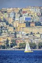 Naples west side view from the sea of with sailboat Stock Photography