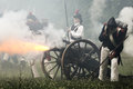 Napoleonic soldiers picture of french foot artillery and shooting cannon Royalty Free Stock Images