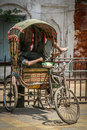 Napping in rickshaw man having a nap his the nepali town butwal Stock Photography
