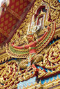 Narai song suban image on the gable of buddhist temple in bangkok thailand Royalty Free Stock Photo