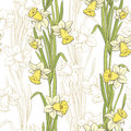 Narcissus flower graphic color seamless pattern sketch illustration
