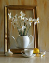 Narcissuses and frame Royalty Free Stock Images