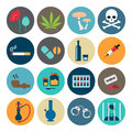 Narcotic drugs flat icon Royalty Free Stock Photo