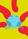 Narcotic frog. Acid Blue Frog. Narcotic reptile. Tongue licking
