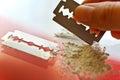 Narcotics abuse cocaine drug use criminality problem Stock Photo