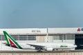 NARITA - JAPAN, JANUARY 25, 2017: EI-DBM Boeing 777 Alitalia Ready to take off in International Narita Airport, Japan.