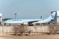 NARITA - JAPAN, JANUARY 25, 2017: HL7586 Airbus A330 Korean Air Ready to take off in International Narita Airport, Japan.