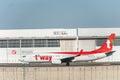 NARITA - JAPAN, JANUARY 25, 2017: HL8070 Boeing 737 T`Way Air Ready to take off in International Narita Airport, Japan.