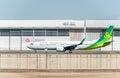 stock image of  NARITA - JAPAN, JANUARY 25, 2017: JA01GR Boeing 737 Spring Airlines Japan Ready to take off in International Narita Airport, Japan