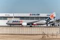 NARITA - JAPAN, JANUARY 25, 2017: Vh-VKG Boeing 787 Dreamliner Jetstar Airways Ready to take off in International Narita Airport, Royalty Free Stock Photo
