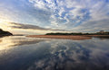 Narrabeen reflections capturing the cloud in the water at lakes entrance on the northern beaches sydney Stock Image