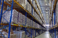 Narrow aisle warehouse with pallet storage system. Royalty Free Stock Photo