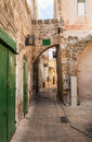 A narrow alley in Akko (Acre), northen Israel Royalty Free Stock Photo