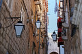 Narrow alley in old town Dubrovnik, Croatia Royalty Free Stock Photo