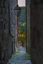 Narrow alley in the tuff a town tuscany Stock Image