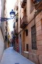 Narrow alleyway in Barcelona Royalty Free Stock Photo