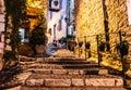 Narrow alleyway in Saint-Paul-de-Vence, Cote d`Azur, France Royalty Free Stock Photo