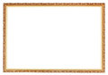 Narrow carved ancient gold wooden picture frame Royalty Free Stock Photo