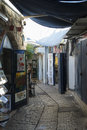 Narrow city street of shops and art galleries in Tzfat Royalty Free Stock Photo