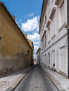Narrow cobble street in prague castle district czech republic Royalty Free Stock Photo