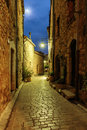 Narrow cobbled street with flowers in the old village at night, Royalty Free Stock Photo