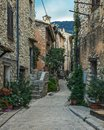 Narrow cobbled street with flowers in the old village Tourrettes Royalty Free Stock Photo
