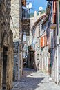 Narrow cobbled streets in the old village France Royalty Free Stock Photo