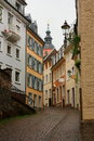 Narrow cobblestone street stock photos old in baden baden germany Stock Photo