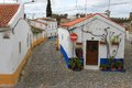 Narrow cobblestone streets vila vicosa and houses of alentejo portugal Royalty Free Stock Image