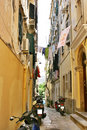 Narrow corfu street Stock Photos