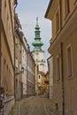 Narrow crooked bystreet in Bratislava Royalty Free Stock Photo