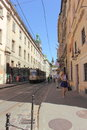 Narrow gauge rail line on the cobbled streets of the city of lviv ukraine Royalty Free Stock Photography