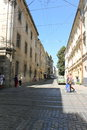 Narrow gauge rail line on the cobbled streets of the city of lviv ukraine Royalty Free Stock Image