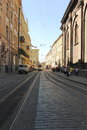 Narrow gauge rail line on the cobbled streets of the city of lviv ukraine Royalty Free Stock Photos