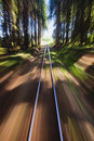 Narrow gauge railroad track Stock Photos
