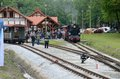 Narrow gauge railway in poland krosnice dolny slask may restored railroad krosnice crowded station during opening event on may Stock Photo