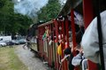 Narrow gauge railway in poland krosnice dolny slask may restored railroad krosnice unidentified group of people inside the train Stock Image