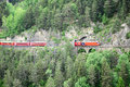 Narrow gauge railway. Switzerland. Royalty Free Stock Photo