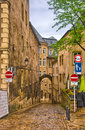 Narrow medieval street in Luxembourg, Benelux, HDR Royalty Free Stock Photo