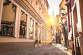 Narrow medieval street in old town Riga - Latvia Royalty Free Stock Photo