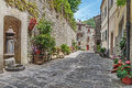 Narrow old cobbled street with flowers Royalty Free Stock Photo