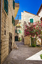 Narrow old streets and yards in sibenik city croatia medieval zone Stock Images